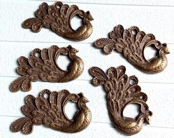5pcs 28x48mm Antique Bronze Peacock Phoenix Charms Pendant