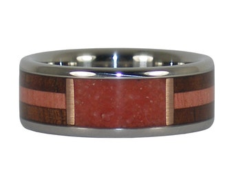 Red Coral Window Ring with Two Wood Inlays