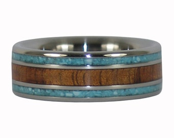 Koa Wood and Turquoise Titanium Ring