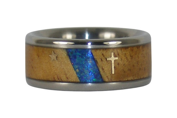 Blue Opal and Koa Ring with Christian Gold Cross and Star