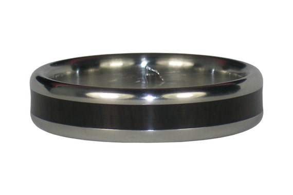 Narrow Black Wood Inlay Titanium Ring