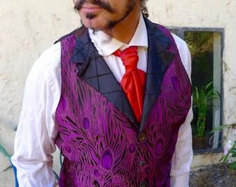Violet Purple Peacock Feather Silk Brocade Steampunk Victorian Lapeled Gentlemen's Vest