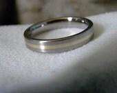 Wedding Band or Ring, Titanium with Gold Stripe Inlay, Satin Finish
