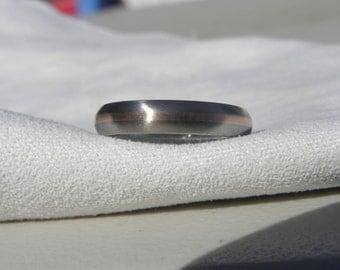 Wedding Band, Ring, Titanium with Rose Gold Inlay, Satin Finish