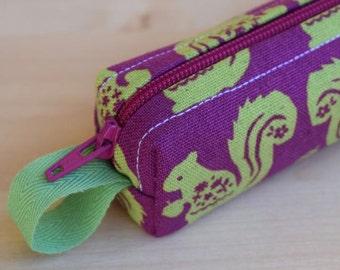 Squirrels and Acorns Bitty Bag (petite pencil or makeup case)