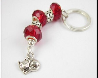 Kitty Cat Charm European Style Keychain Car Accessories Red Crystal and Tibetan Silver Spacers Key Chain