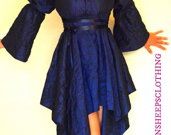 Handkerchief Dress Crushed Blue Taffeta