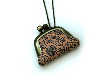 Floral Coin Purse Necklace, Flower Necklace,