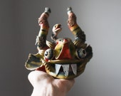 Vintage Balinese Barong Mask, Indonesian Spirit Mask, Barong Mask, Painted Plaster Balinese Barong Head, Folk Art