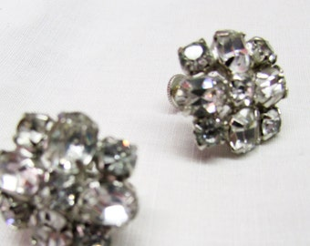 Vintage 1940's 1950's Earrings Rhinestone Screw Back Costume Jewelry Pronged Faceted Rounds