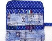Paris Themed Circular Needle Case, Blue White Crochet Hook Holder, Polka Dots Double Pointed Needle Storage, Artist Makeup Brushes Organizer