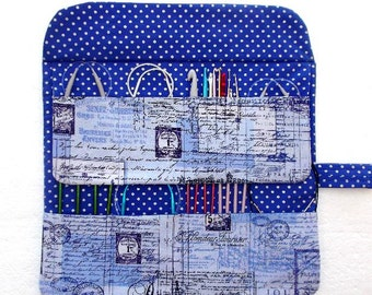 Paris Themed Circular Needle Case, Blue White Crochet Hook Holder, Polka Dots Double Pointed Needle Storage, Artist Makeup Brushes Organizer