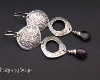 Silver long dangle earrings, Long Oxidized Silver, purple stone, moss amethyst, long earrings