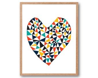 Geometric Love, Heart Art Print, Animal Illustration, Drawing, Illustration, Children Room, Kids room art, Nursery room Art, home decor