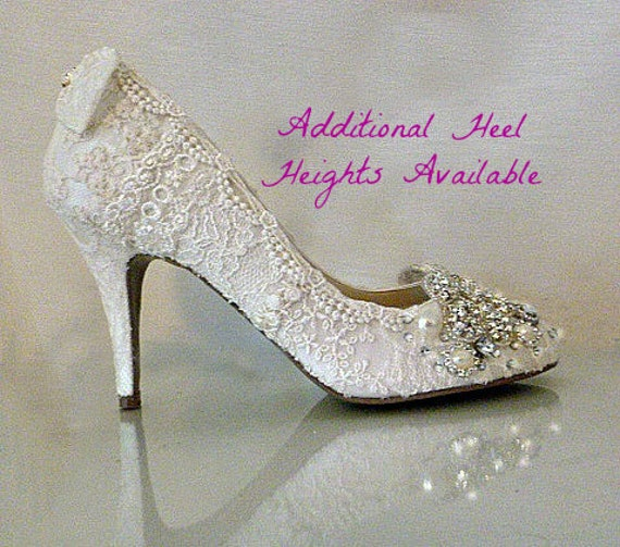 Lace Wedding Shoes .. Vintage Lace Wedding Shoes .. Lacy Wedding Heels.. Bridal Shoes .. Sparkling Shoes .. FREE Postage within USA