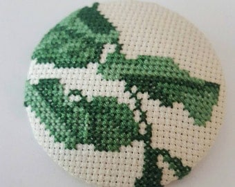 Cross stitch embroidered brooch - large button brooch - chunky textile jewellery