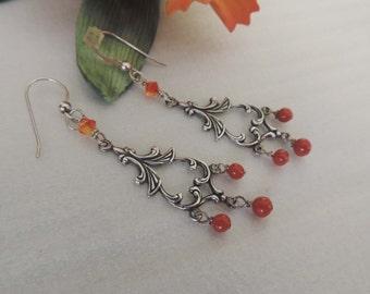 Elegant  Chandelier Red Agate Beads n Swarovski Beads Earrings