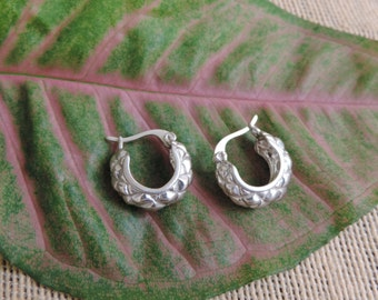 Vintage Sterling Silver Hoops Earrings