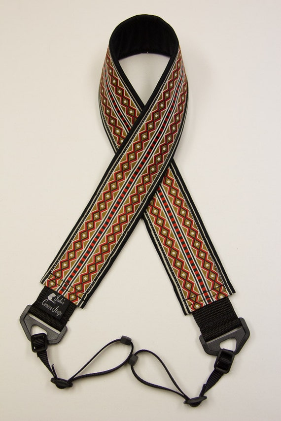 Camera Strap 2 in Wide Custom Padded Geometric Diamonds Red Tan Black DSLR SLR