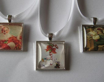 Fun Vintage Santa and Snowman Glass Tile Ornaments