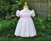 Shaded pink roses smocked baby dress, Size 18 months, ready to ship, classic smocked, birthday, Easter, special occasion, Heirloom, Toddler