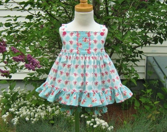 Pink roses on teal, baby girl, dress and bloomers, size 12 Mo, Easter set, sundress, ready to ship, party dress, handmade, pinafore dress