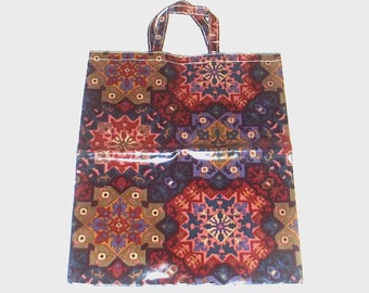 1970s tote bag / vintage 70s Liberty of London / Liberty of London Graphic Oilcloth Tote Bag