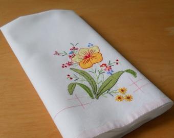 Vintage Cotton Tea Towel • Embroidered Applique Floral • Cotton Hand Towel Pink Trim