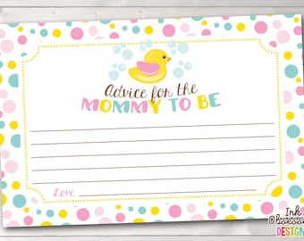 New Mommy Advice Cards Printable PDF with Duck and Pink Polka Dots Baby Shower Game