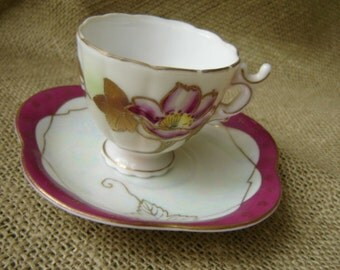 Vintage Demitasse Cup And Saucer Floral Demi Cup And Saucer Made In Japan Wedding Decor
