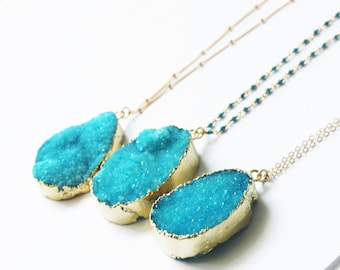Long Druzy Necklace, Long Pendant Necklace, Crystal Necklace, The Silver Wren Druzy Jewelry, Long Necklace, Turquoise Necklace Boho Necklace