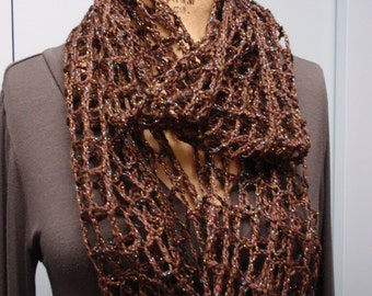 Infinity Scarf Accessories Handmade Crochet Fishnet Open Weave Sparkle Metallic