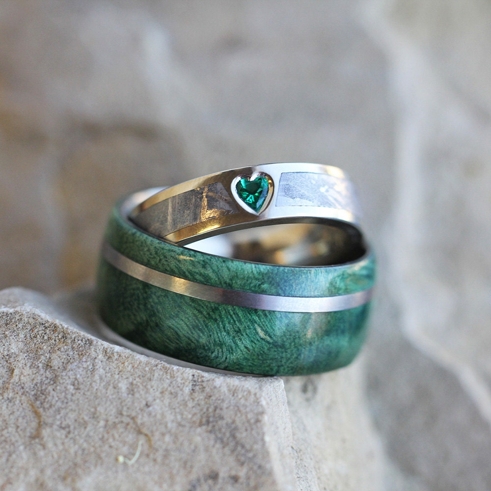 Unique Wedding Ring Unique Wedding Ring Set Rustic Bridal Set With Green Box
