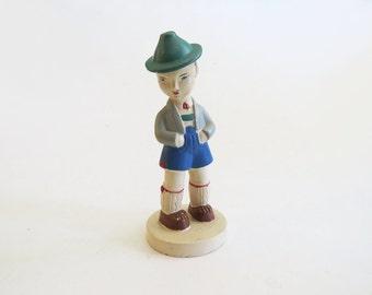 European Figurine Statue  //  1950's German Boy Ceramic Statue // Vintage Home Decor