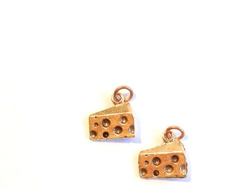 Set of 2 Cheese Slice Charms in Gold-tone Pewter