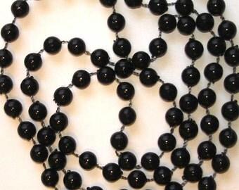 fun vintage black beads flapper necklace