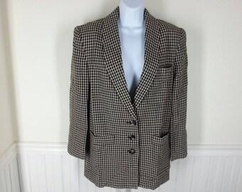Vtg wool Dana Buchman brown beige check blazer jacket Size 4 Bust 40