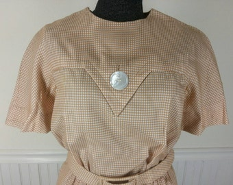 Vtg 60s Georgia Bullock California gingham check sheath dress size 20 chest 44in.