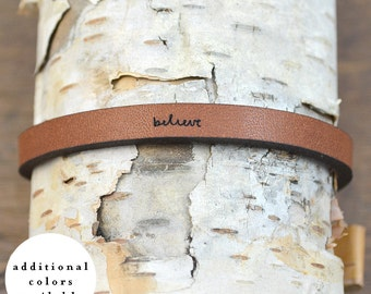 believe - adjustable leather bracelet  (additional colors available)
