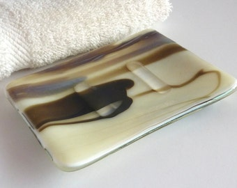 Fused Glass Soap Dish in French Vanilla and Brown