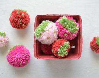 Yarn Pom Pom Strawberries - Set of 10 - Spring, Summer, Home Decor!