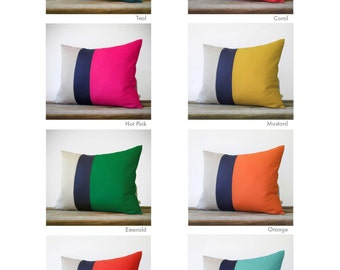 CUSTOM 16x20 Color Block Pillow Cover in Navy and Natural Linen by JillianReneDecor Modern Home Decor - Striped Trio - Custom Colors