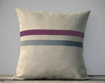 Amethyst and Stone Grey Striped Linen Pillow Cover, Decorative Pillows, Modern Home Decor by JillianReneDecor - Purple Linen Pillow - FW2015