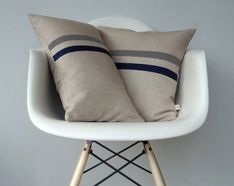 Gray and Navy Striped Pillow Set - (12x20) and (16x16) by JillianReneDecor - Modern Home Decor - Minimal Slate Gray and Navy Stripes