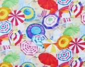 Beach Umbrellas Cotton Fabric / Elizabeth's Studios / Red, Orange, Yellow, Blue, Purple, Green, White, Sand / One Yard