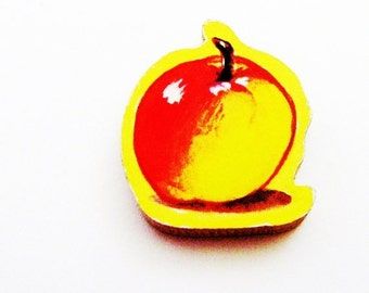 Apple Brooch - Pin / Red & Yellow Fruit Wood Brooch / Upcycled 1960s Hand Cut Wood Puzzle Piece / School Teacher Gift / Gift Under 20