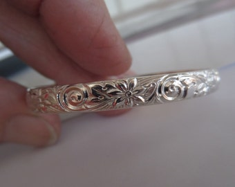 Sterling Silver Cuff with Spirals and Flowers for One Year Old Baby