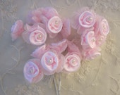 18 pc Pearl Beaded Pink Wired Satin Organza Rose Flower Applique Bridal Wedding Bridal Bouquet Baby Pageant