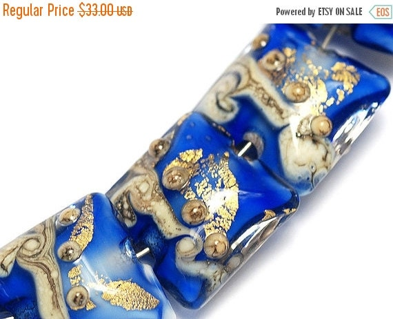 ON SALE 50% OFF Four Cobalt Treasure Pillow Bead Set - Handmade Lampwork Beads 10410014