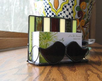 Stained Glass Moustache Business Card Holder
